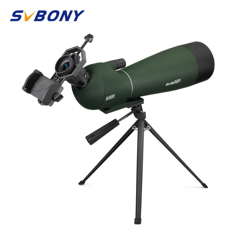 SVBONY Zoom Lunetas Prisma BAK4 20-60x80mm F9308 Telescópios Monocular Luneta Telescópio Observação de aves de Caça À Prova D' Água