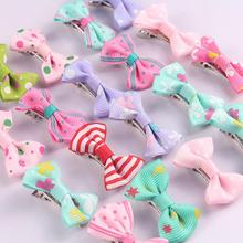 20Pcs/lot Print Bow Baby Hair Clips Cute Dot Strip Candy Multi Colors Barrettes Cartoon BB Hairpins For Girls Hair Accessories цены