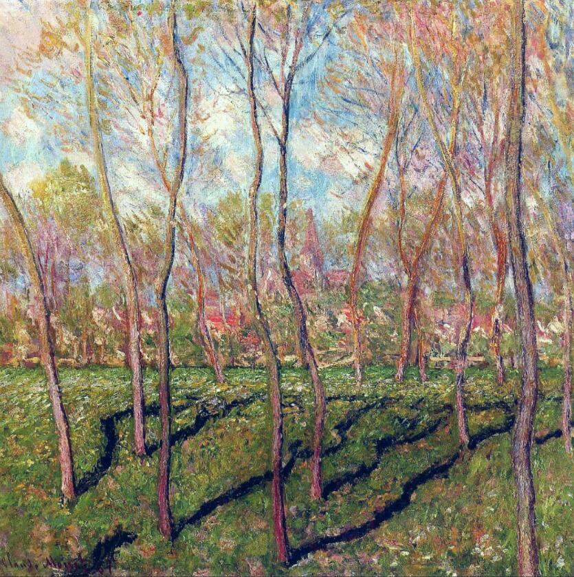High quality Oil painting Canvas Reproductions Trees in Winter, View of Bennecourt (1887) By Claude Monet hand painted