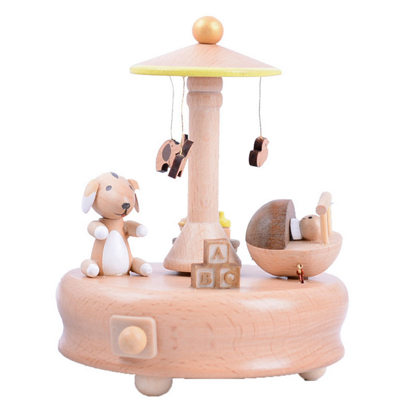 1 Piece New Solid Wood Cute Animal Music Ofbox Classic Toy For Children Wind Up Toy Clockwork Handmade Creative Birthday Gifts