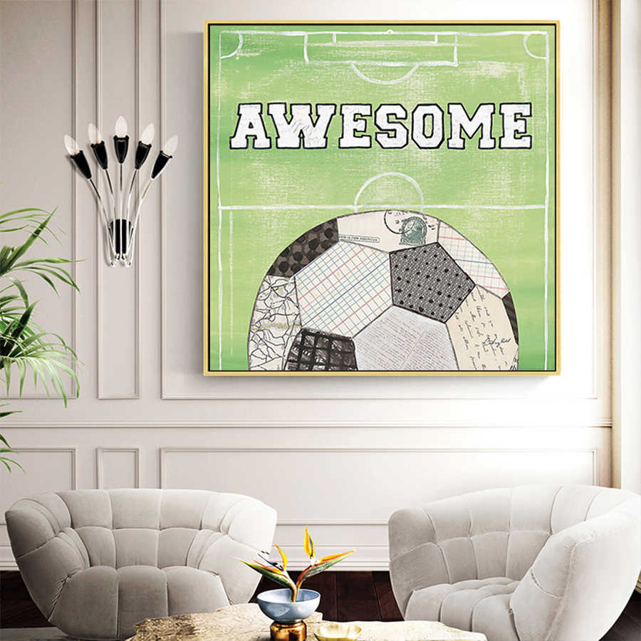 Awesome Football Quotes Wall Art Prints Canvas Painting Nordic Poster Wall Pictures For Soccer Fan Living Room Bedroom Decor Art