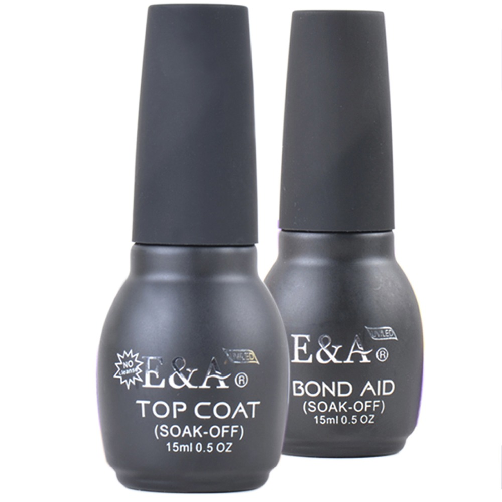 E & A Base en Top Coat Kits voor professionele gel nagellak zonder cleanser manicure pakket van 2 stuks 15ml 0.5Oz