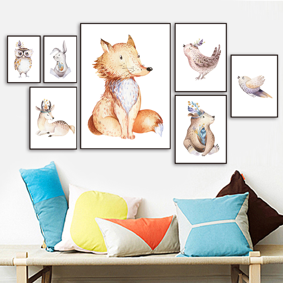 Owl Bear Fox Rabbit Bird Watercolor Wall Art Canvas Painting Cartoon Nordic Posters And Prints Wall Pictures For Kids Room Decor in Painting Calligraphy from Home Garden