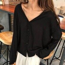 harajuku Korean Women's Casual V Neck Button Up Long Sleeve Solid Blouse Casual shirt blusas harajuku недорого