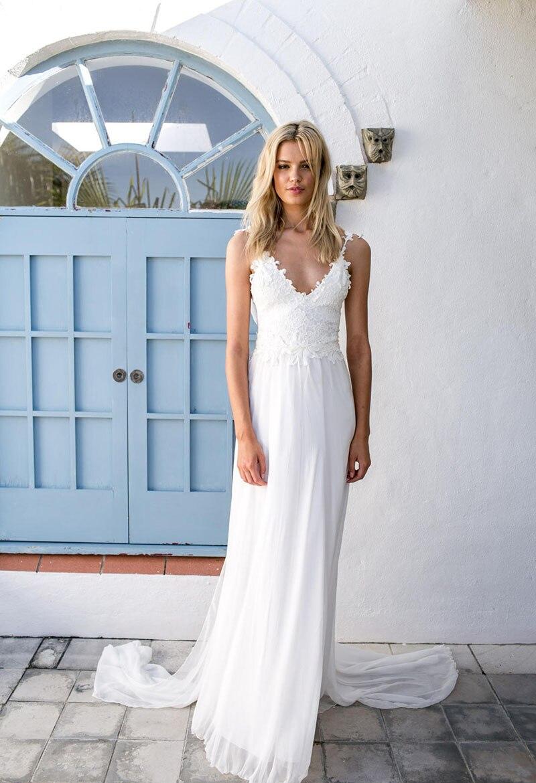 Chiffon Beach Wedding Dress 2017 Vestido De Noiva Appliques V Neck ...