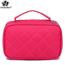 Fashion Diamond Lattice Make Up Bag Portable Travel Makeup Organizer Bag Large Makeup Pouch High Quality Nylon Make Up Box 2019