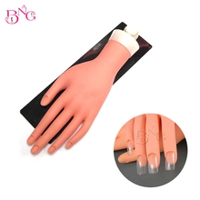 BNG 1Set Movable Practice Hand With Stand Flexible Fingers Soft Fake Hand Draw &Decorate Nail Art Training Mannequin Hand