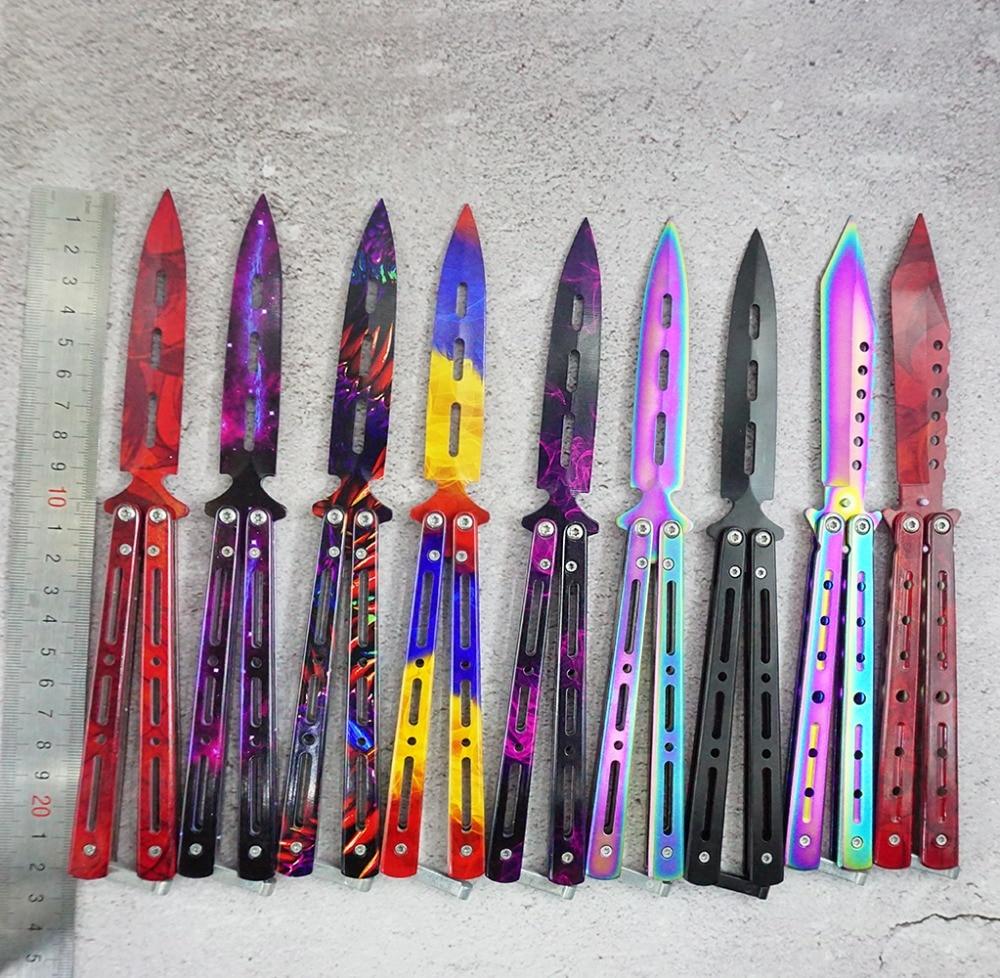 Cuchillo de entrenamiento de acero inoxidable de 3 colores cuchillo de titanio mariposa en cuchillo para regalo de hombre + bolsa + destornillador + salvó pernos