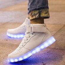 ผู้ชายผู้หญิงชาร์จUSB LEDรองเท้า7สีแฟชั่นลำลองส่องสว่างรองเท้าที่light upสูงสีดำรองเท้าขนาด36-44 45 46