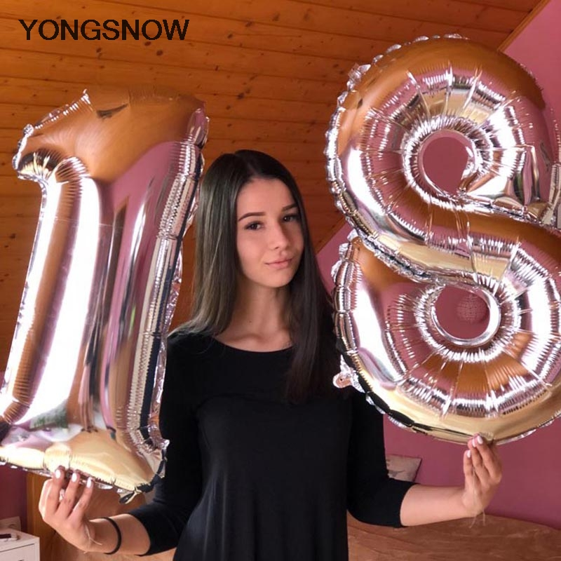 32inch Number Foil Balloon <font><b>Happy</b></font> <font><b>18</b></font> <font><b>Birthday</b></font> Helium Figure Ballon Air Balloons Wedding Party Decoration 2020 Christmas Globos image