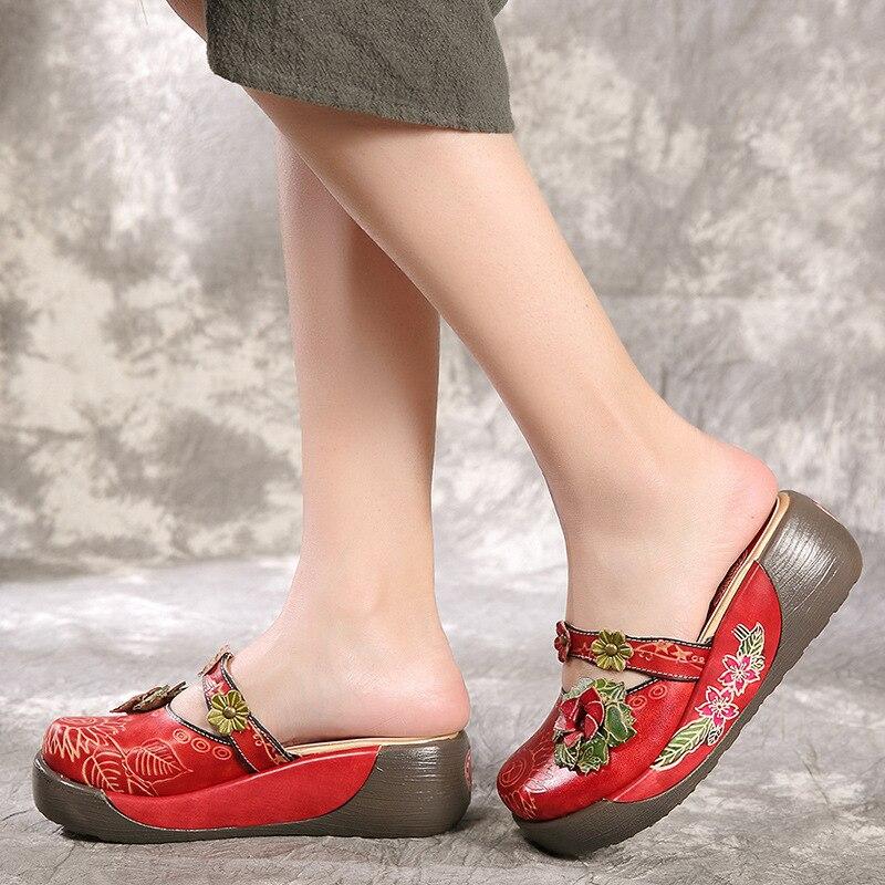 2019 여름 여성 플랫폼 라운드 발가락 샌들 메리 제인 레드 높이 증가 슬리퍼 plue 크기 정품 가죽 웨지 신발-에서하이힐부터 신발 의  그룹 3