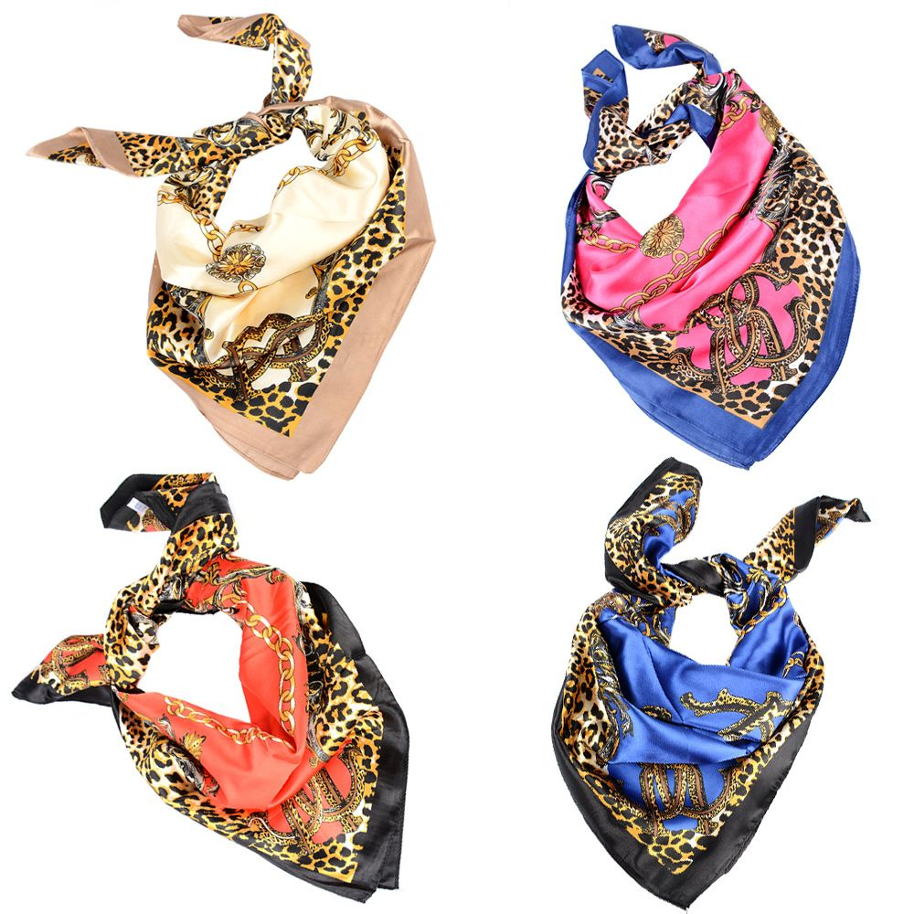Luxury Brand Leopard Hijab Women   Scarf   Silk Satin Shawl Scarfs Square Head   Scarves     Wraps   1PC Fashion 2018 New Hot
