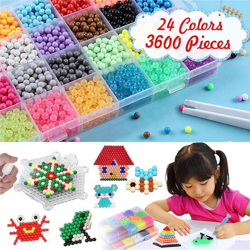 Fuse Beads Refill Water Sticky 24 Colors Water Fuse Beads Kit- 3000 Beads Educational Toys For Kids D5