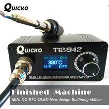 T12 942 OLED MINI stacja lutownicza cyfrowe spawanie elektroniczne żelazna wersja DC przenośna bez zasilacza QUICKO