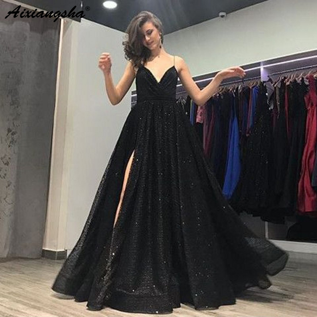 V-Neckline Backless Prom Long Elegant Dresses with Split A-Line Spaghetti Straps Sweep Train Black Sequined Prom Dress