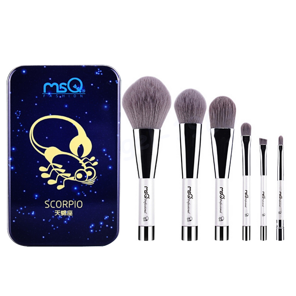 6 Pcs Makeup Kosmetik Serat Arang Bambu Brush Blush Powder Foundation Eye Shadow Alis Bibir Alis Mata Kit dengan Besi Case Kala-Internasional