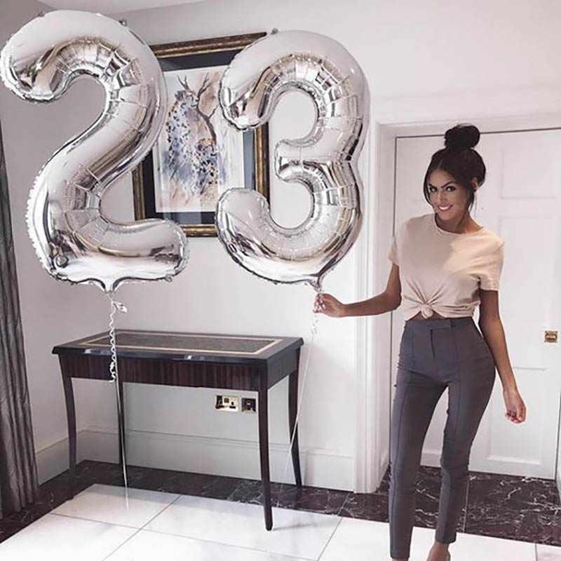 32/40 นิ้วบอลลูนอลูมิเนียมฟอยล์จำนวน Rose Gold Silver หลักรูปบอลลูนเด็กผู้ใหญ่วันเกิดตกแต่งงานแต่งงานอุปกรณ์