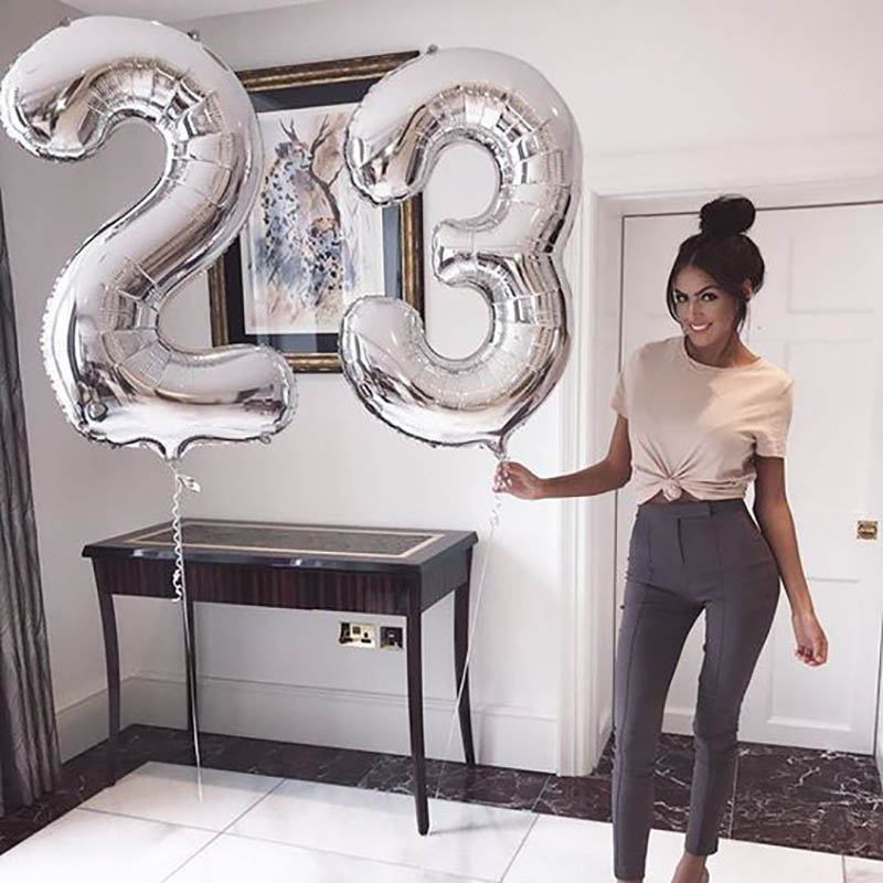 32/40inch Number Aluminum Rose Gold Silver Digit Figure Foil Balloon For Child Adult Birthday Decor 2
