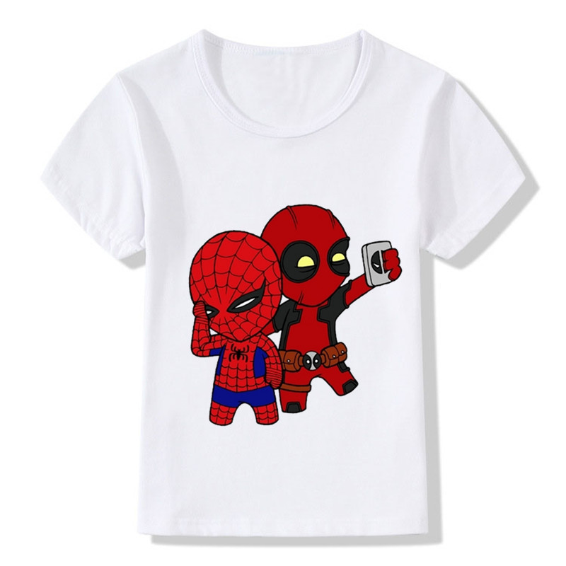 2017 deadpool spiderman superhero funny children t shirts Boys superhero t shirts
