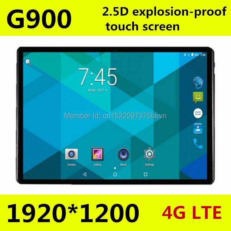 10.1 pouces Octa core tablette pc G900 2.5D écran Android 8.0 3G 4G LTE double SIM 1920*1200 IPS 4 GB 128 GB wifi Bluetooth tablettes