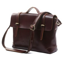 Fashionable Hot Sale 100% Genuine Cowhide Leather Dark Coffee Men Messenger Bags Portfolio Laptop bag Shoulder Bags # 7082X