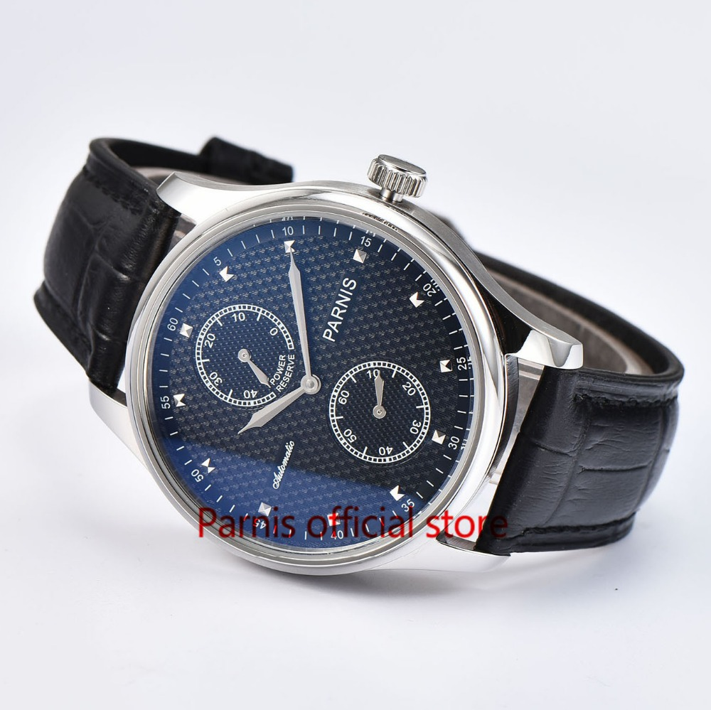 43mm Automatic Men Watch Parnis Power Reserve Mechanical Watches Black Dial Stainless Steel Case Sea-gull 2542 Movement Cheap parnis 47mm power reserve seagull movement black dial men automatic pilot watch pa4711sbw