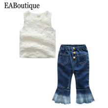 EABoutique summer kids clothes Retro Fashion girls clothes flower lace hollow design tee with bell-bottoms jeans outfit