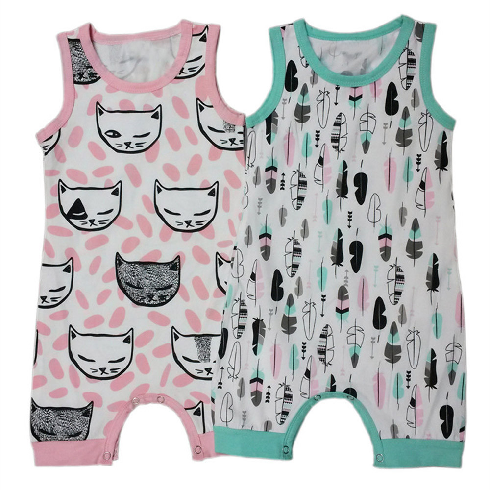 Lovely Newborn Infant Kids Boy Girl Cartoon Printed Romper Jumpsuit Clothes Sleeveless Cat Feather Print Baby Rompers for Summer 2017 new adorable summer games infant newborn baby boy girl romper jumpsuit outfits clothes clothing