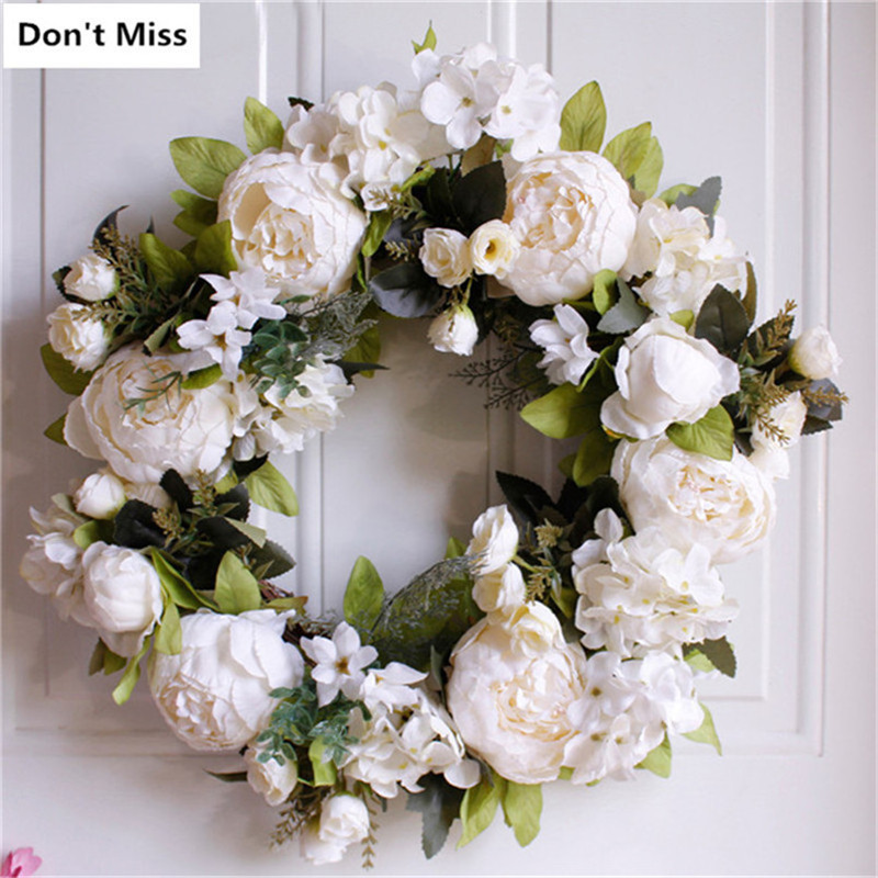 Us 23 09 45 Off Fall Decorations Simulation Flower Wreath Christmas Wreath Decorations Door Hanging Ornaments Floral Garland Guirnaldas Navidad In
