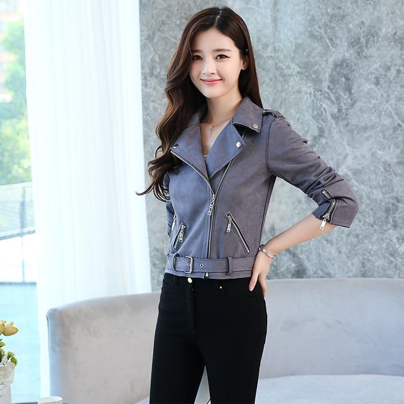 DHfinery leather jacket women spring autumn long sleeve zipper short jackets black Suede leather coat plus