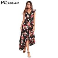 Floral Maxi Beach Dress Women 2018 Summer Backless V Neck Hollow Out Waist Flower Black White