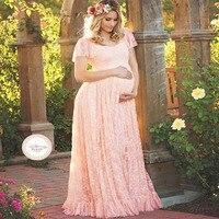 2018 Plus Size 4XL Summer Lace Maternity Pregnancy Dresses Women Clothes for Pregnant Maternity photography Long dress Gravida