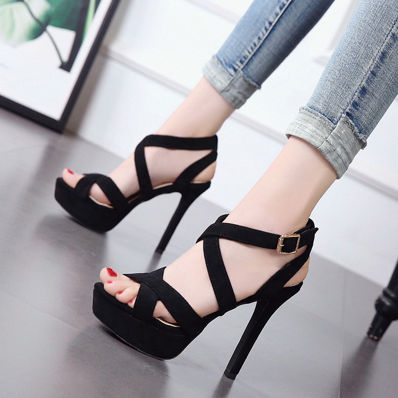 Fish Beak Shoes 2019 New one-word buckle sandals summer fine high heel open toe waterproof high heels Female womens shoes