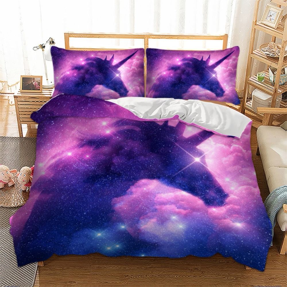 Galaxy Unicorn Bedding Set Kids Girls Psychedelic Space Duvet Cover 3 Piece Pink Purple Sparkly Unicorn Bed Linen Set BedclothesGalaxy Unicorn Bedding Set Kids Girls Psychedelic Space Duvet Cover 3 Piece Pink Purple Sparkly Unicorn Bed Linen Set Bedclothes