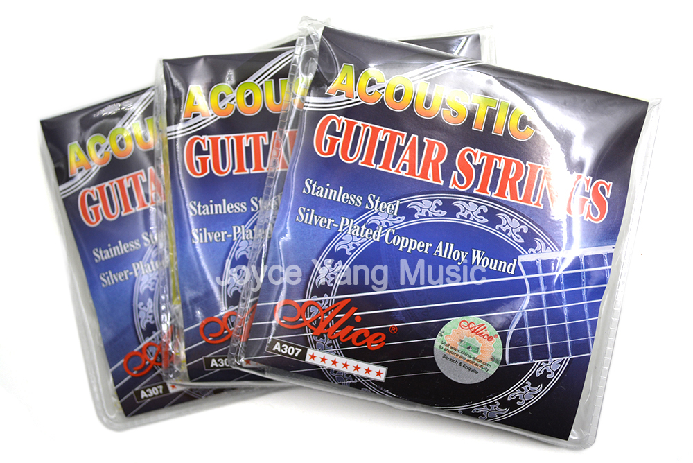 3 Sets of Alice A307-SL Acoustic Guitar Strings Silver-Plated Copper Alloy Wound&Stainless Steel 1st-6th Strings