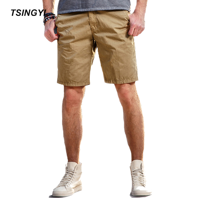 c466fb4fe2a Tsingyi Summer Solid Mid Waist Casual Male Shorts Knee Length Cotton Mens  Compression Shorts Men Trousers 9 Colors Size 28-38