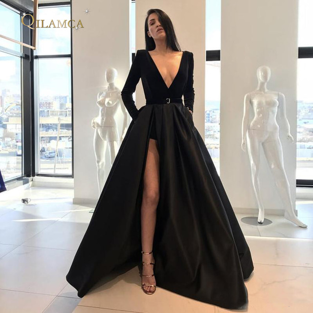 345715a6ae93 Sexy V-neck Black Evening Dresses A Line Long Sleeves High Side Split Floor  Length Prom Party Gowns Satin Formal Pageant Dress
