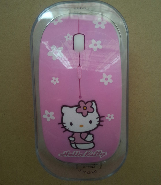 44fb57020 Creative Cute Cartoon Cat Pink Hello Kitty Slim Silent Girl Mouse Optical  USB 2.4Ghz Wireless Mouse Computer Laptop PC Mice Gift