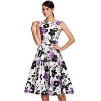 2017 Summer Women Floral Print Retro Dress 50s Vintage Robe Elegant Party Sleeveless Dress Feminino Vestidos