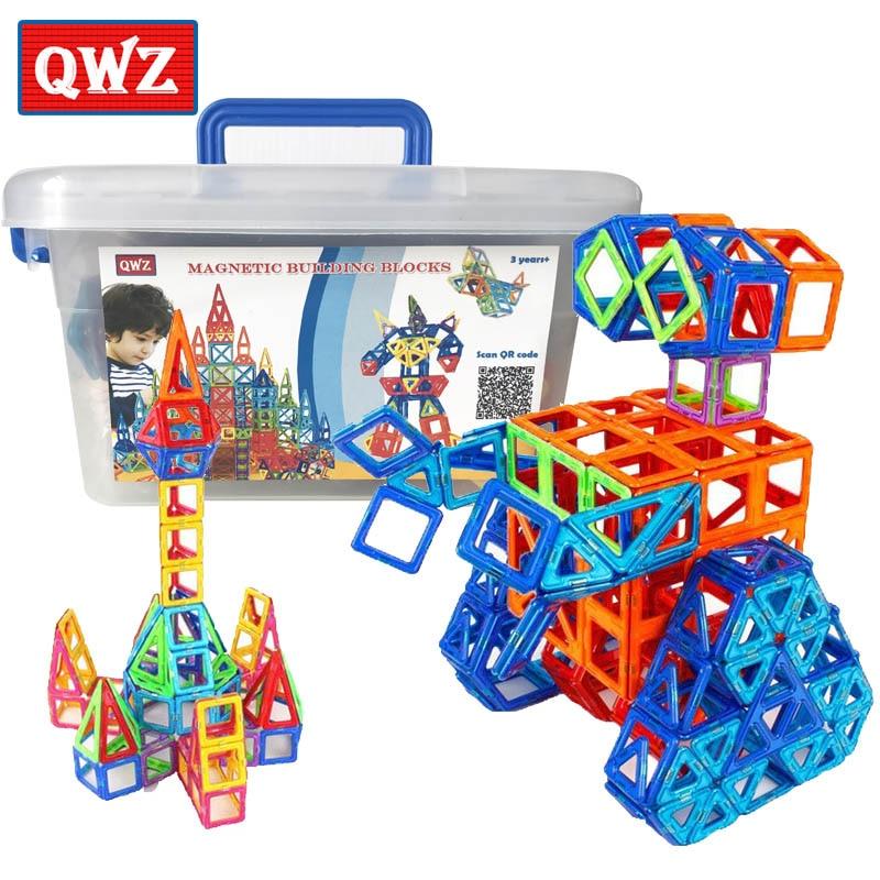 QWZ 110 adet Mini manyetik tasarımcı inşaat seti modeli ve bina plastik manyetik bloklar eğitici oyuncaklar çocuklar için hediye