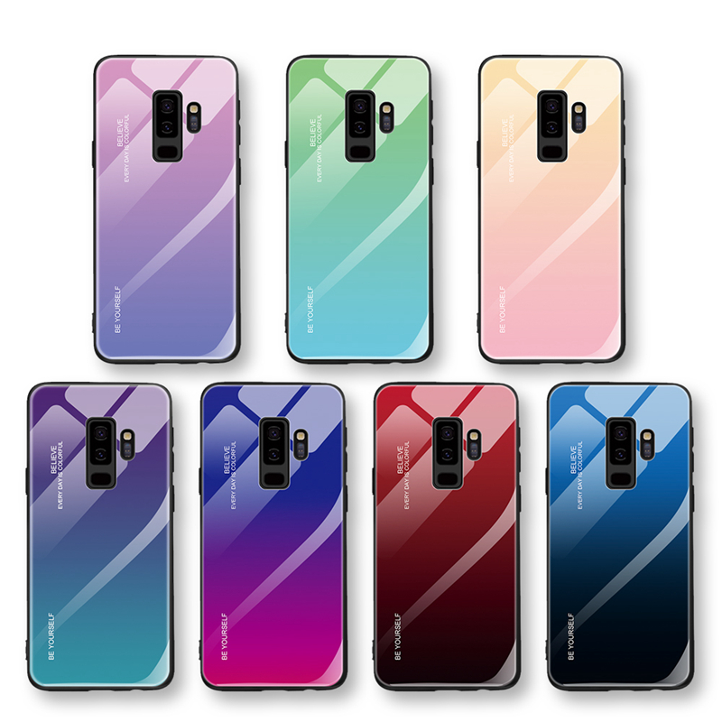 Gradient Phone Case For Samsung Galaxy S10 S9 S8 Plus S10e Note 9 8 J6 J4 Plus 2018 A7 2018 A750 Tempered Glass Case Cover Shell