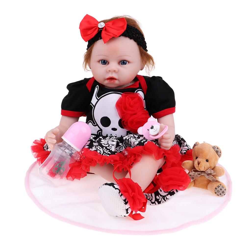 22 дюймов Хэллоуин костюм Reborn кукла мягкая силиконовая кукла с одеждой, соска, бутылка, ковер и мини медведь игрушка #1