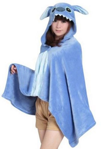 Cartoon Kawaii Anime Blue Stitch Cosplay Hooded Cloak Wrap Adult Women Men Unisex Shawl Coral Fleece Cape Blanket with Hood