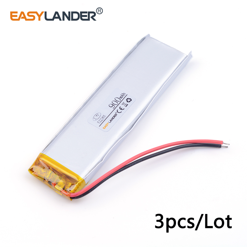 3pcs /Lot 900mah 522365 3.7v lithium Li ion polymer rechargeable battery mobile power supply tablet GPS navigator medical device