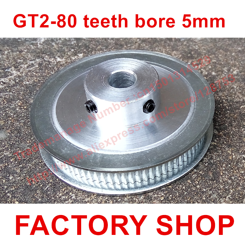 High quality 1PC 80 teeth Bore 5mm GT2 Timing Pulley 80 tooth fit width 6mm of 2GT timing Belt bore 5 mm toothed Free shipping powge 8pcs 20 teeth gt2 timing pulley bore 5mm 6mm 6 35mm 8mm 5meters width 6mm gt2 synchronous 2gt belt 2gt 20teeth 20t