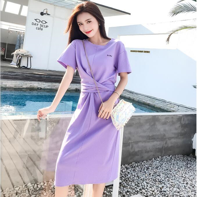 545f131b9bd Dress summer dress Slim Comfortable New dress Solid color crew neck dress  AI044