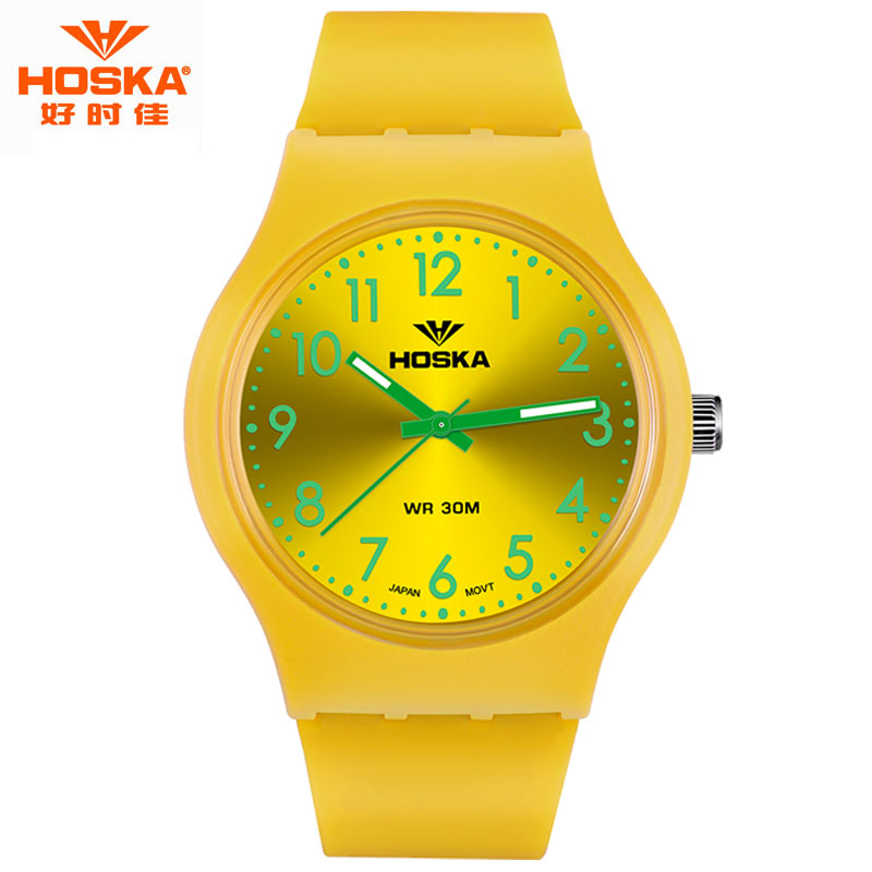Children Watch Famous Brand HOSKA Kids Designer Luminous Silicon Sport Waterproof the Quartz Wristwatches H801 montre enfant
