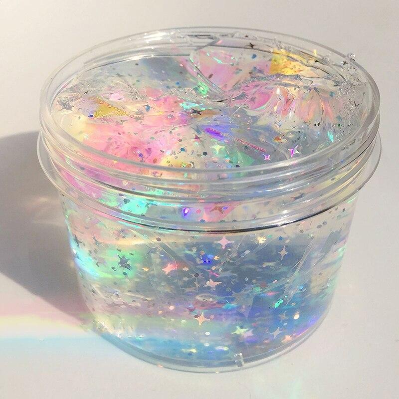 Happy Monkey 120ml/200ml Clear Slime Toys New Glitter Laser Anti-Stress Slime Birthday Gift Toy For Kids Children Grownups
