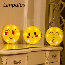 Lanpulux Creative 3D Face Expression Lamps Chat Smile Desktop Ornaments Girl Bedroom Wedding Party Decor Night Lights Luminaria(China)