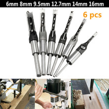 6PCS Square Hole Saw Drill Bit Auger Mortising Chisel 1/4 5/16 3/8 1/2 9/16 5/8